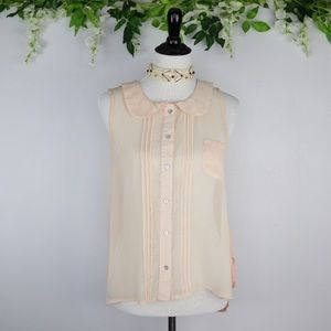 Free People Blush Pink Peter Pan Collar Blouse S